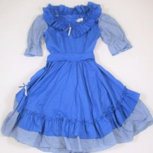 Vintage M Square Dance Dress Western Prairie Blue